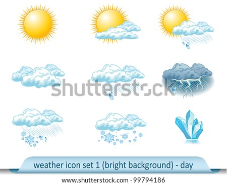 vector weather forecast icon with bright background. Set 1-day