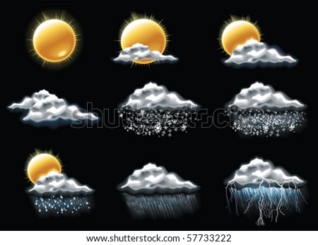 Vector weather forecast icons. Part 4 - stock vector