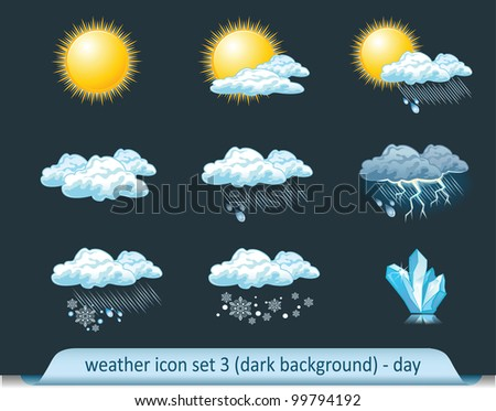 Vector weather forecast icons with dark background. Set 3-day - stock vector