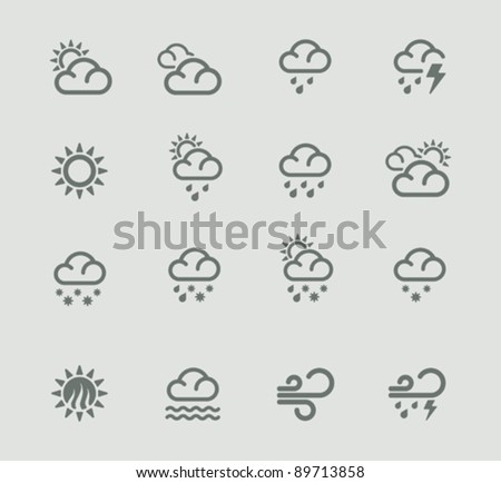 Vector weather forecast pictogram set. Part 1 - stock vector