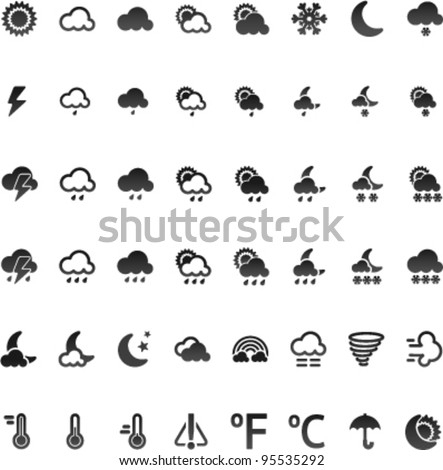 Vector weather icon set, 32x32 on white bacground - stock vector