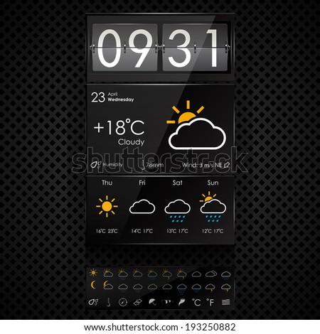 Vector weather widgets template - stock vector