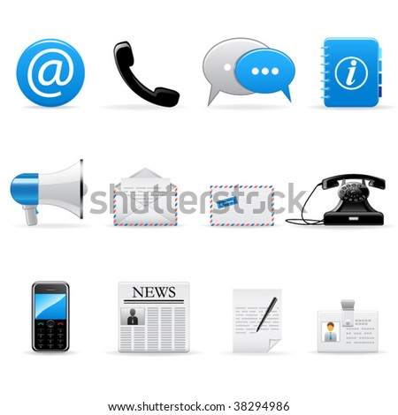 Vector web and communication icons set - stock vector