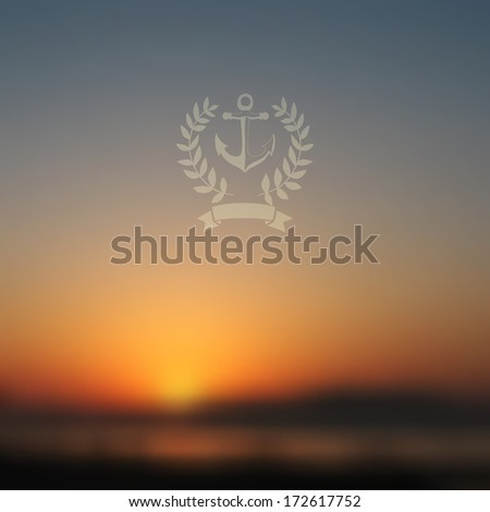 Vector web and mobile interface background. Corporate website design. Minimalistic  media backdrop. Vector. Editable. Unfocused. Wreath. Seaside background. Badge. Blurred Sunset, sunrise wallpaper - stock vector