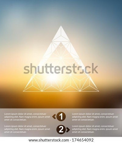 Vector web and mobile interface template. Corporate website design. Minimalistic multifunctional media backdrop.Editable. Blurred. Triangle badge label, view from the window,  sunset,Options, Icon - stock vector