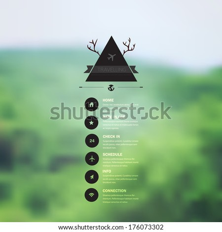 Vector web and mobile interface template. Corporate website design. Minimalistic multifunctional media backdrop. Vector. Editable. Blurred. Triangle badge label, mountain landscape. Options, Icon - stock vector
