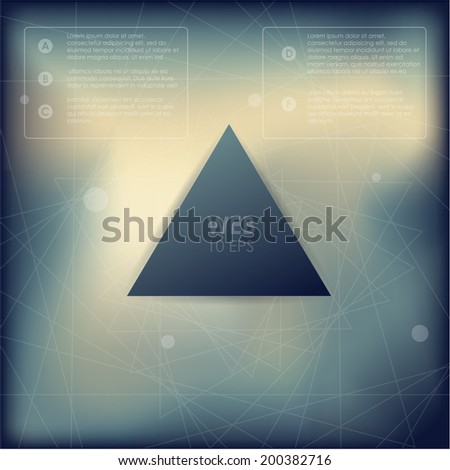 Vector web and mobile interface template. Corporate website design. Minimalistic multifunctional media backdrop. Vector. Editable. Blurred. Triangle badge label over blur background. Options - stock vector
