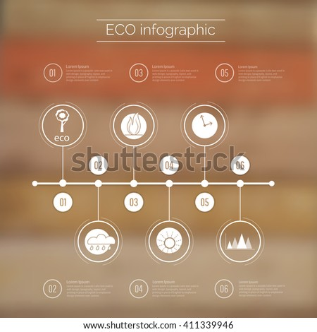 Vector web and mobile interface template. Corporate website design. Minimalistic multifunctional media backdrop. Vector. Editable. Blurred.Timeline  infographic, wood background. Options, Icon - stock vector