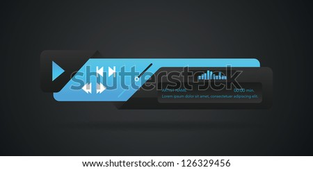 Vector web audio players, with different control navigation panel - stock vector