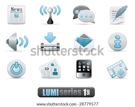 Vector Web Blog Icon Set. Lumi Series. - stock vector