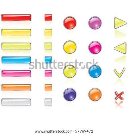 Vector web buttons and icons - stock vector