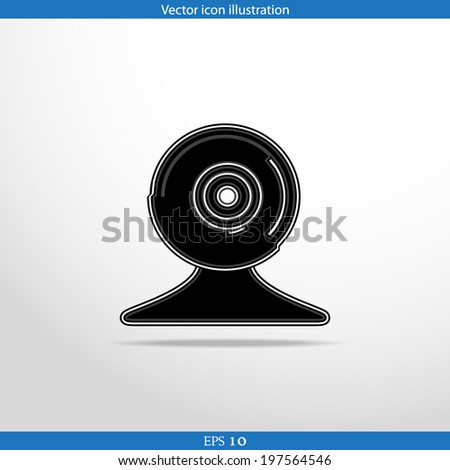 Vector web cam flat icon in circle
