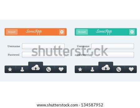 Vector web design App menu in two colors - stock vector