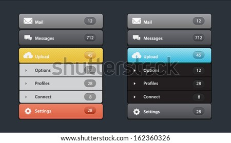 Vector web design navigation menu in two colors - stock vector