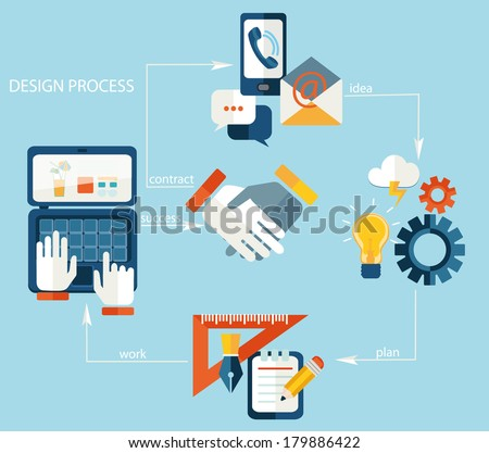 Vector web design process - icons and illustrations in flat style. - stock vector