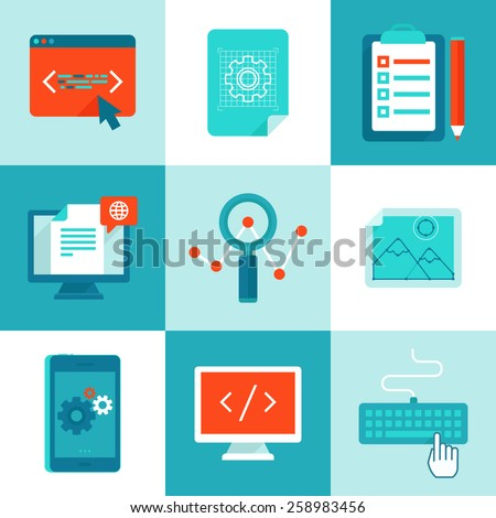 Vector web development and programming icons in flat style - set of illustrations and concepts  - stock vector