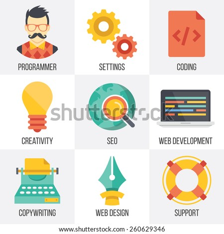 Vector web development, seo, and web design icons set. Flat design. Isolated on white background. Set 4. - stock vector