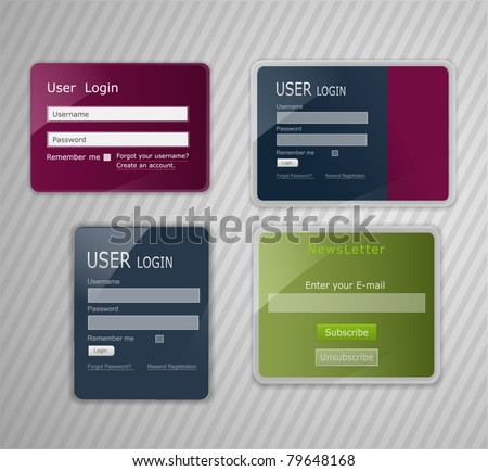 vector web elements, with the effect of glass - stock vector