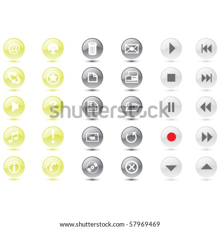 vector web icons and buttons - stock vector
