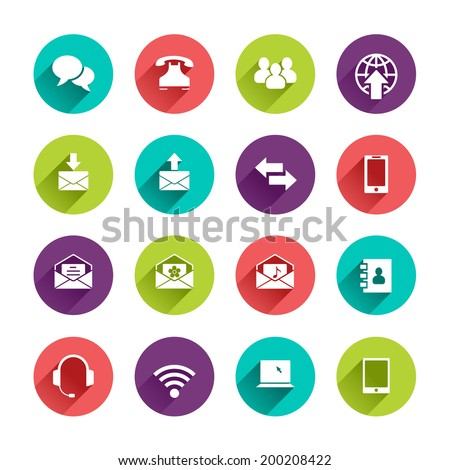 Vector Web Icons Set in Flat Design with Long Shadows on circle buttons with speech bubble phone group of people email arrows smartphone phone book headphones wi-fi tablet notebook laptop signs - stock vector