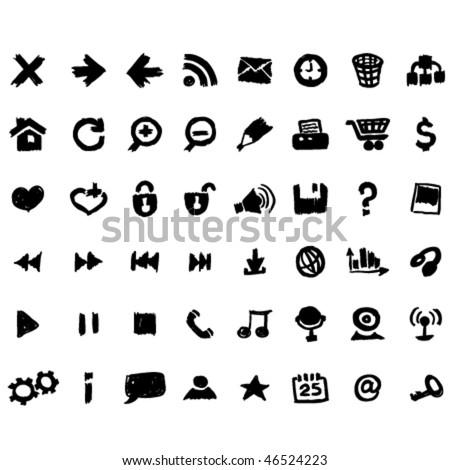 Vector web icons set sketch - stock vector