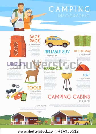 Vector web infographic on the theme of Climbing, Trekking, Hiking, Walking. Sports, Camping, outdoor recreation, adventures in nature, vacation. Camping brochure. - stock vector