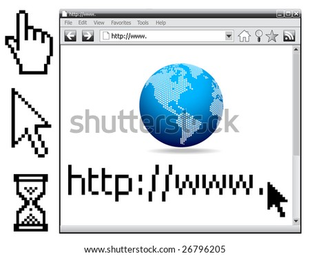 Vector - Web Internet Browser, cursors... All elements are grouped in layers and easy to edit - stock vector