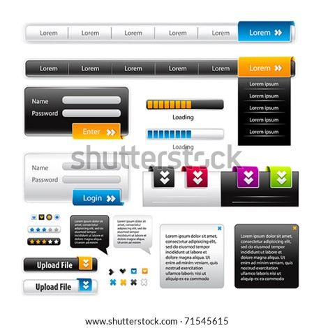 Vector Web 2.0 menu set for business site. - stock vector