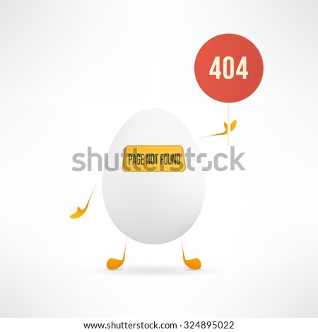 Vector 404 web page not found error with cute and funny egg creature holding the red sign. - stock vector