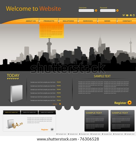 Vector web site design city template - stock vector