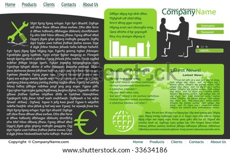Vector web site design template. Black and green. - stock vector