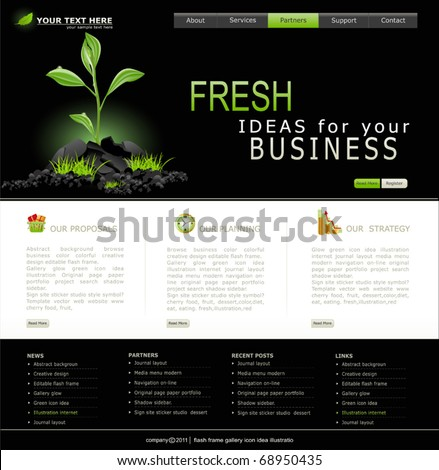 Vector Web site for business. Black with green sprout - stock vector