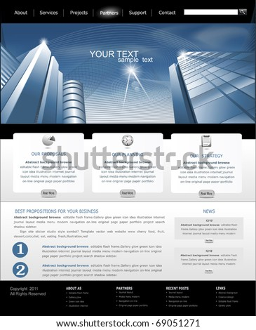 Vector web site is black and blue with building for business - stock vector