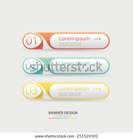 Vector web site navigation elements One Two Three Four steps, progress banners with colorful tags. - stock vector