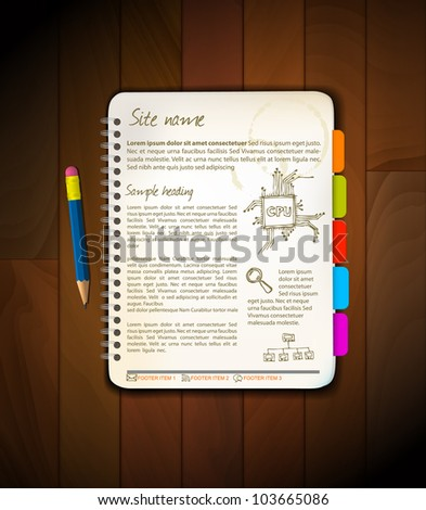 Vector Web site template - Open notepad with colorful bookmarks - stock vector