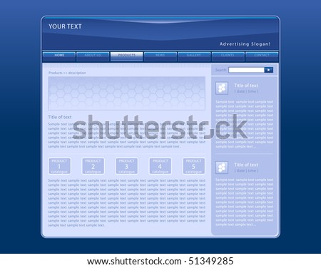 Vector web site template with blue background