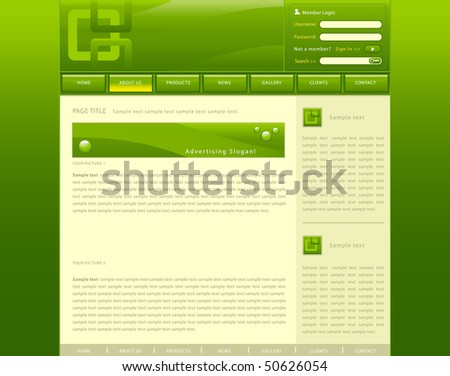 Vector web site template with green background - stock vector