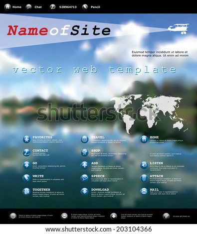 vector web template with blurry landscape, for various business - stock vector