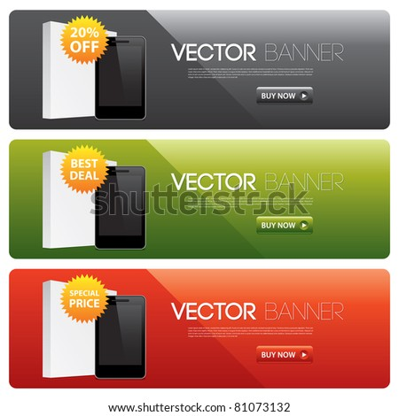 vector website banners for software products - stock vector