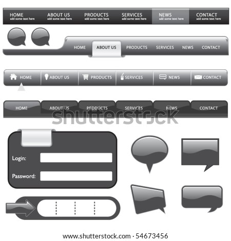 Vector Website Button and Form - stock vector