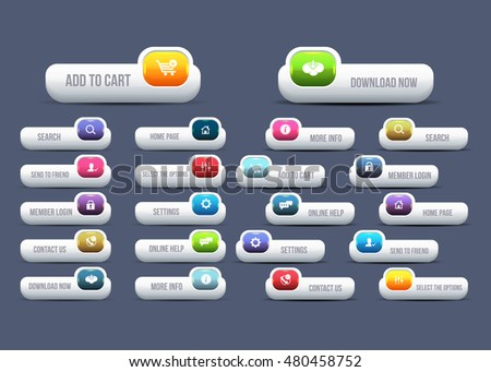 Vector Website Buttons Set