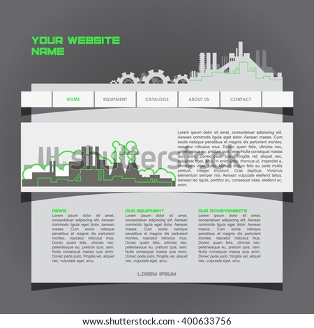 Vector Website Design Template for Industrial Company. EPS 10