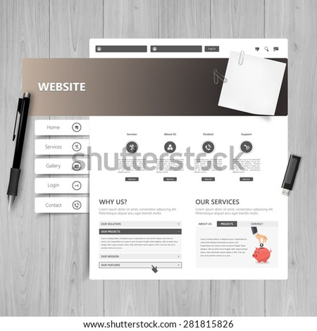 Vector website design template on wood textured table, Office theme - stock vector
