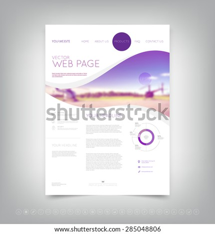 Vector website design template with blurred helicopters on the background - stock vector