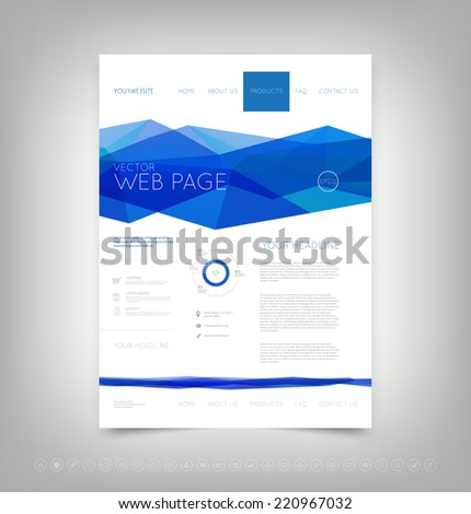Vector website design template with bright blue polygonal background - stock vector