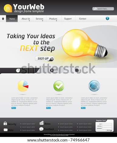 Vector Website Design Template with business elements, detailed icons and lightbulb - stock vector