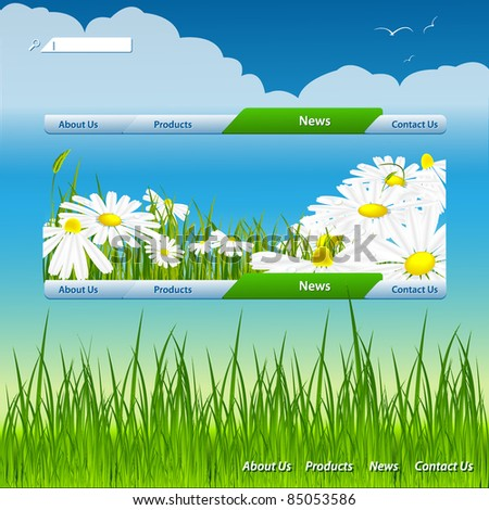 vector website design with floral theme. Eps10 - stock vector