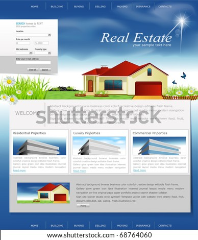 Vector website for the organization of business real estate agency - stock vector