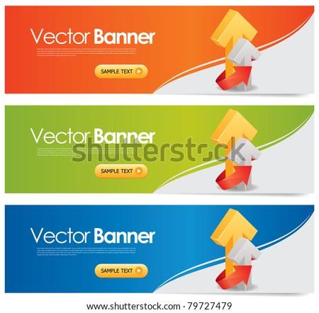 vector website headers, business success concept - stock vector