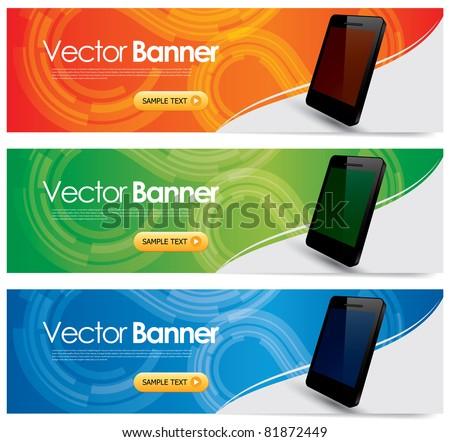 vector website headers, smart phone promotion banners - stock vector